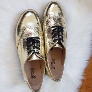 🆕️⚜⚜BRASH Gold Snakeskin Casual Platform Shoes